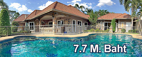 Beautiful house for sale in North Pattaya with swimming pool and seperate guesthouse
