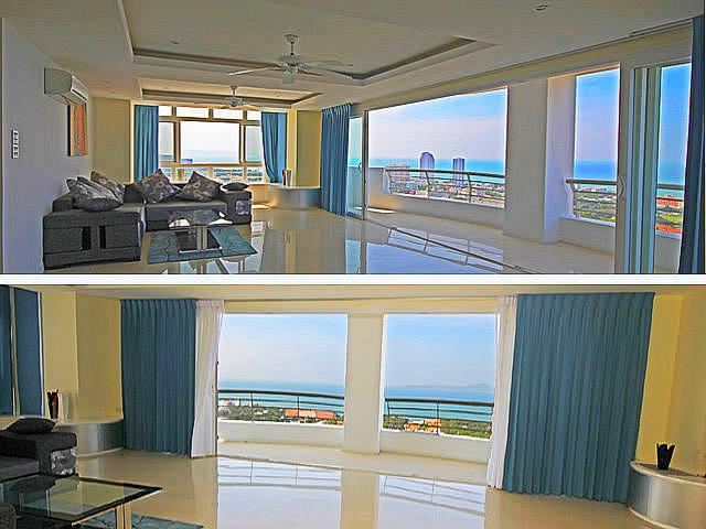 Pattaya Hill Resort, Eigentumswohnung zum Verkauf, Front Corner Einheit, Obergeschoss, 196 qm, 2 Betten, 2 Bader, Euro Kuche, voll mobliert, 2 Balkone, spektakularer Panoramablick auf das Meer und die Stadt, Fremdbesitz, * Finanzen verfugbar
