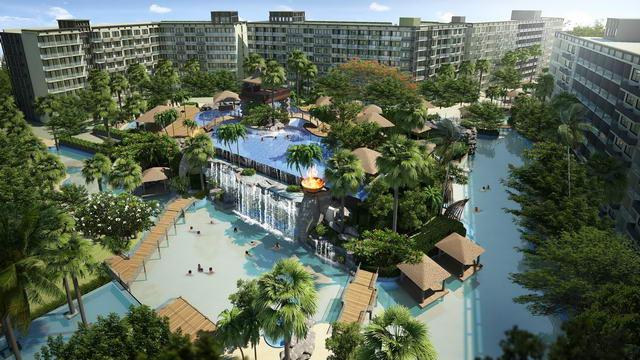 New The Maldives Beach Resort Eigentumswohnung zum Verkauf, Sofort beziehbar, Ecke 52 bis 68 m2, 1 Bett, 1 Bad, europaische Kuche, Balkon, 5.000 M-Themenlagune Schwimmbad, Preise ab: 2.735 M Baht * 01 Aug 2018: Abstand Verkaufspreis