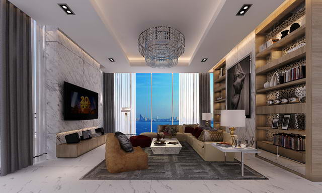 Penthaus : The Palm Condo zum Verkauf, wunderbare Lage direkt am Sandstrand, Penthouse auf 3 Etagen, Designer - Stil, 622 qm, 4 Bett, 4 Bad, Euro Kuche, Kinozimmer, Privatlift, Privates Schwimmbad und Fitnessraum, Meerblick, Auslandischer Besitz