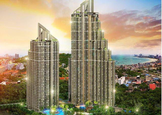 Das neue Grand Solaire Eigentumswohnung zum Verkauf, 29 qm, 1 Schlafzimmer, 1 Bad, Euro-Kuche, Balkon, Meer- und Stadtblick, Preise ab * 4.35 M Baht
