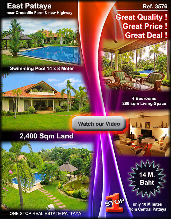 Pattaya Villa with tropical Garden for sale